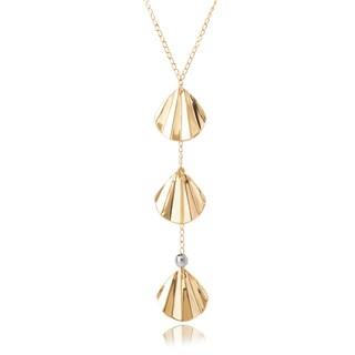 Avanti 14K Two Tone Gold Shell Shape Dangle Lariat Adjustable Necklace