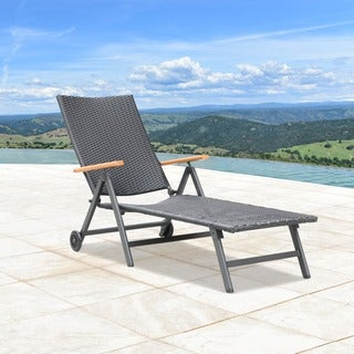 Sorrento Outdoor Black Wicker Chaise Lounge by Corvus