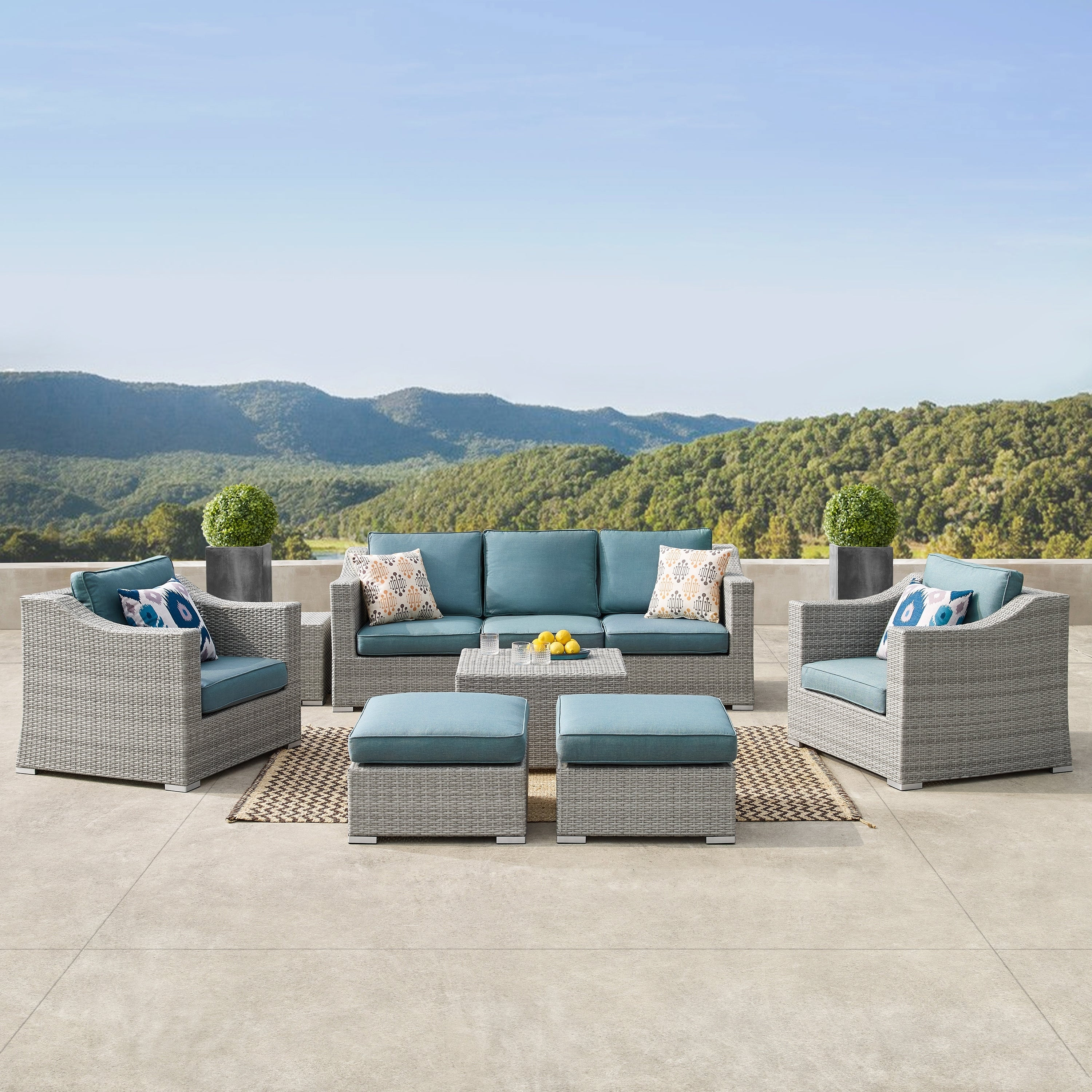 Blue Patio Furniture Sets.Corvus Martinka 9 Piece Grey Wicker Patio Furniture Set With Cushions