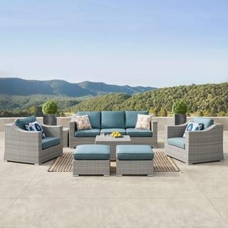 Corvus Martinka 9-piece Grey Wicker Patio Furniture Set with Cushions