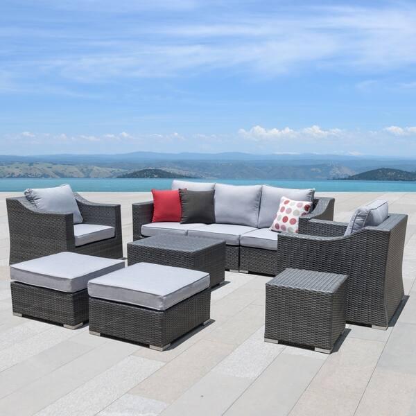 Grey Wicker Patio Furniture Set