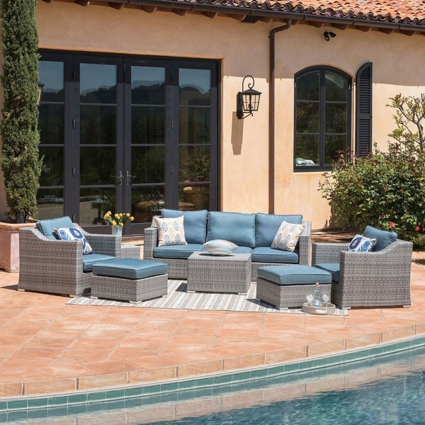 Corvus Martinka 9 Piece Grey And Blue Wicker Outdoor Sectional Furniture Set