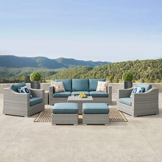 Corvus Martinka Outdoor 9-piece Grey Wicker Sectional Furniture Set