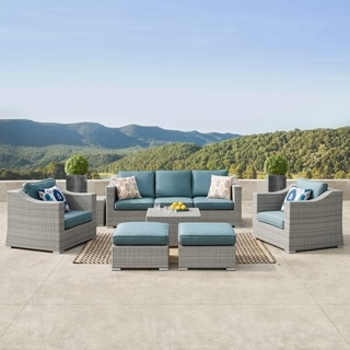 Corvus Martinka 9-piece Grey and Blue Hand-woven Resin Wicker Outdoor Sectional Furniture Set