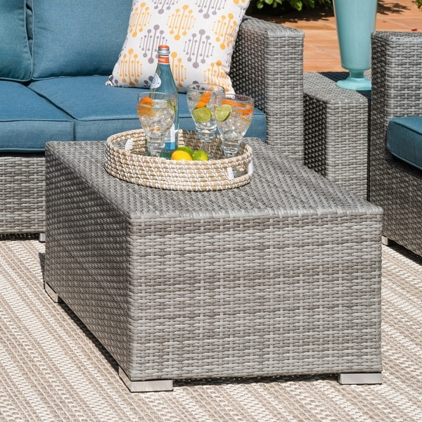 Corvus Martinka 11 Piece Grey And Blue Wicker Outdoor Sectional Furniture  Set   Free Shipping Today   Overstock.com   19777307