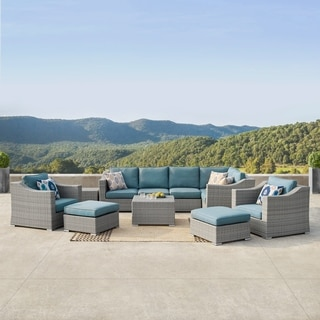Corvus Martinka 11-piece Grey and Blue Wicker Outdoor Sectional Furniture Set