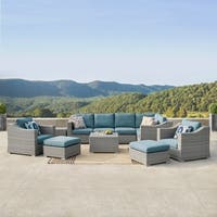 Corvus Martinka 11-piece Grey Wicker Outdoor Sectional Sofa Set with Blue Cushions