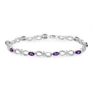 Sterling Silver 2 5/8ct TW Purple Amethyst & Round Diamond Link Bracelet (I-J, I2-I3)
