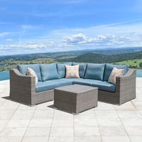 Corvus Martinka 6-piece Grey Wicker Aluminum Outdoor Sofa Set