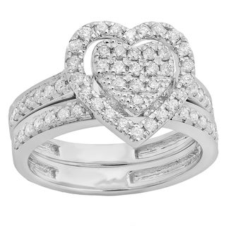 Sterling Silver 1/2ct TDW Round Diamond Heart Engagement Ring Set