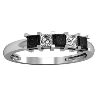 14k Gold 5/ 8ct TDW Princess Black and White Diamond Anniversary/ Wedding Band