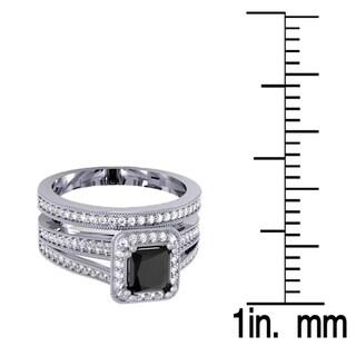 Elora 18K Gold 1 3/8ct TDW Black & White Diamond Halo Engagement Ring Set (I1-I2, H-I and Black)
