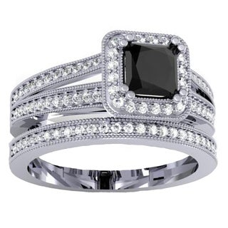 18K Gold 1 3/8ct TDW Black & White Diamond Halo Engagement Ring Set (I1-I2, H-I and Black)