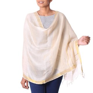 Handcrafted Tussar Silk 'Golden Whimsy' Shawl (India)