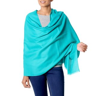 Handcrafted Wool 'Valley Mist in Turquoise' Shawl (India)