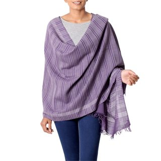 Handcrafted Wool 'Himalayan Orchid' Purple Shawl (India)