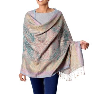 Handcrafted Wool Silk 'Sunset Dream' Iridescent Jamawar Shawl (India)