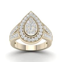 De Couer 14k Yellow Gold 1ct TDW Diamond Pear Shaped Engagement Ring