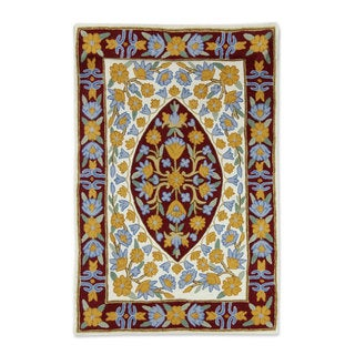 Handcrafted Wool 'Sunny Flowers' Chain Stitch Rug (2x3) (India)