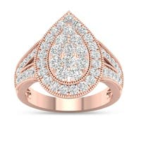 De Couer 14k Rose Gold 1ct TDW Diamond Pear Shaped Engagement Ring - Pink