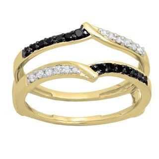 Elora 10K Gold 1/3 CT. TDW Round Black & White Diamond Ladies Wedding Enhancer Guard Double Ring (H-I & Bl