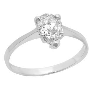 14K White Gold 1ct TDW Pear-cut Diamond Solitaire Engagement Ring (I-J, I2)