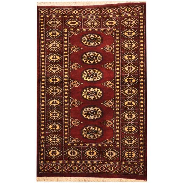 Herat Oriental Pakistani Hand-knotted Bokhara Wool Rug (2'6 x 4')