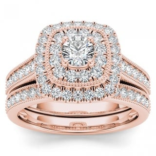 De Couer 14k Rose Gold 3/4ct TDW Diamond Double Halo Bridal Ring Set (H-I, I2)