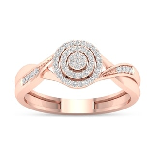 De Couer 10k Rose Gold 1/6ct TDW Diamond Halo Engagement Ring