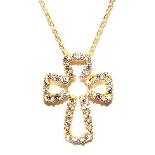 Athra Luxe Goldplated Sterling Silver Cubic Zirconia Open Cross Pendant Necklace