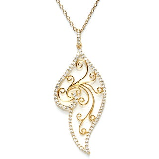 Athra Luxe Collection Women's Yellow-goldplated Sterling Silver Filigree With Cubic Zirconia Drop Pendant