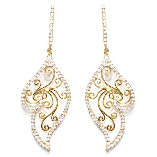 Athra Luxe Goldplated Sterling Silver Filigree Cubic Zirconia Drop Earrings