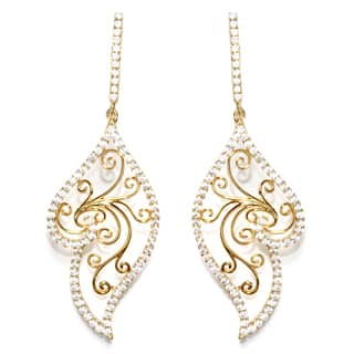 Athra Luxe Goldplated Sterling Silver Filigree Cubic Zirconia Drop Earrings https://ak1.ostkcdn.com/images/products/13040807/P19780756.jpg?impolicy=medium