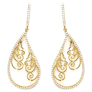 Goldplated Sterling Silver Filigree with Cubic Zirconia Drop Earrings