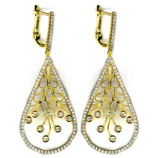 Athra Luxe Collection Women's Goldplated Sterling Silver Filigree With Cubic Zirconia Teardrop Earrings