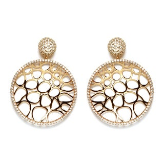 Athra Luxe Collection Women's Goldplated Sterling Silver Filigree Cubic Zirconia Drop Earrings