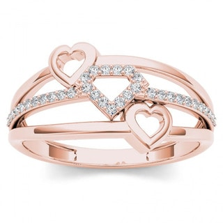De Couer 10k Rose Gold 1/10ct TDW Split Shank Heart Fashion Ring - Pink