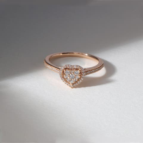 De Couer IGI Certified 10k Rose Gold 1/4ct TDW Diamond Halo Engagement Ring - Pink