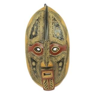 Handcrafted Sese Wood 'Spirit Talker' African Wall Mask (Ghana)