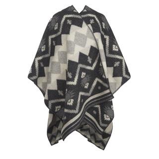 Woolrich Somerton Charcoal Wool/Nylon Jacquard Poncho