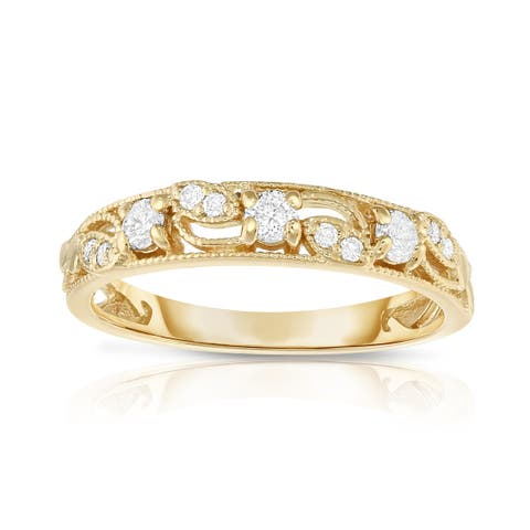 Noray Designs 14K Yellow Gold 1/4ct TDW Diamond Stackable Ring - White G-H