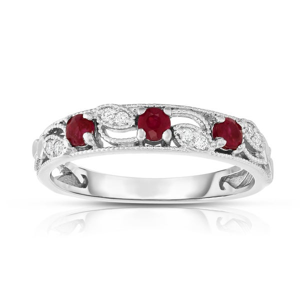 Noray Designs 14K White Gold .30ct TGW Ruby & Diamond Stackable Ring (G-H, SI1-SI2) - Red