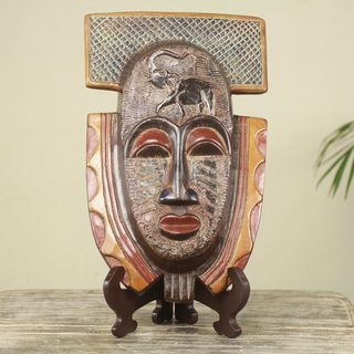Handmade Sese Wood 'Royal Elephant' African Mask and Stand (Ghana) - Multi-color