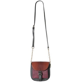 Diophy 2-tone Faux Leather Front Pocket Snakeskin Pattern Flap and Buckle Saddle Crossbody Handbag