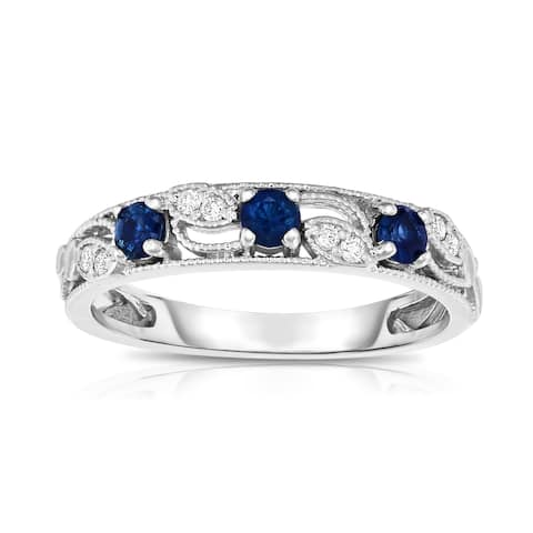 Noray Designs 14K White Gold .30ct TW Blue Sapphire & Diamond Stackable Ring (G-H, SI1-SI2)