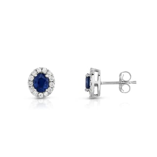 Noray Designs 14K White Gold 1/4ct TDW Blue Sapphire and Diamond Oval Stud Earrings (G-H, SI1-SI2)