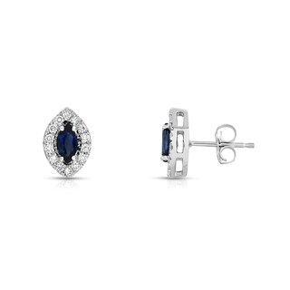 Noray Designs 14K White Gold 1/4ct TGW Blue Sapphire and Diamond Marquise Stud Earrings (G-H, SI1-SI2)