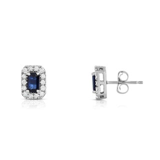 Noray Designs 14K White Gold 1/4ct TDW Blue Sapphire and Diamond Emerald Shape Stud Earrings (G-H, SI1-SI2)