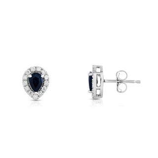 Noray Designs 14K White Gold 1/4ct TDW Blue Sapphire and Diamond Pear Stud Earrings (G-H, SI1-SI2)