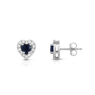 Noray Designs 14K White Gold 1/4ct TDW Blue Sapphire and Diamond Heart Stud Earrings G-H, SI1-SI2)